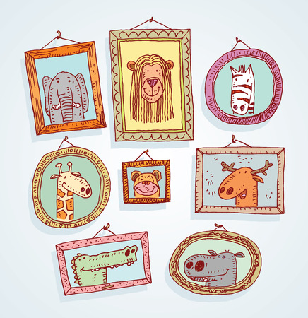 old picture: Set picture frames with animals portrait, hand drawn vector illustration.