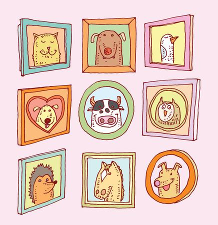Set Bilderrahmen mit Tiere Porträt, Hand gezeichnet Vektor-Illustration. Standard-Bild - 44502872
