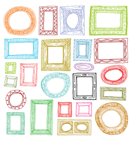 Set picture frames, hand drawn vector illustration. Stock Illustratie