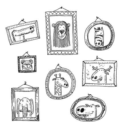 art gallery interior: Set picture frames with animals portrait, hand drawn vector illustration.
