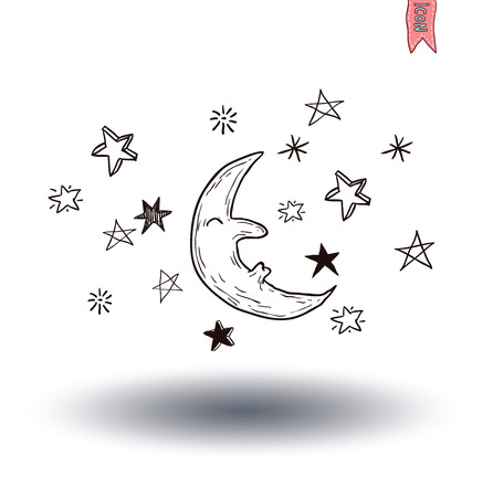 nightly: Moon and stars at night. vector illustration.