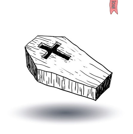 Wooden coffin. vector illustration. Illustration