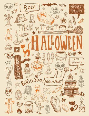 vampire cartoon: Halloween doodles elements. vector illustration