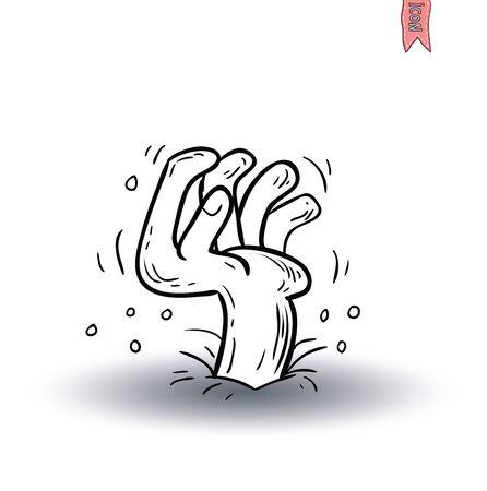curse: zombie hand cartoon character, vector illustration. Illustration