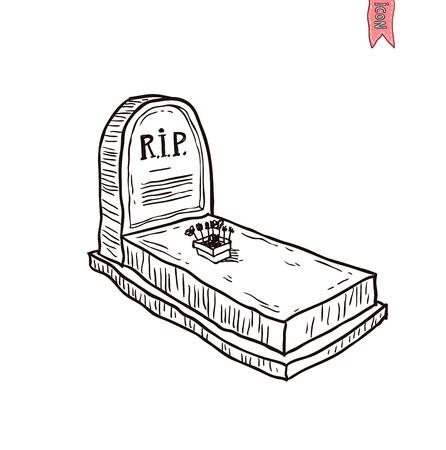 stone tombstone: Tombstone halloween icon. vector illustration.