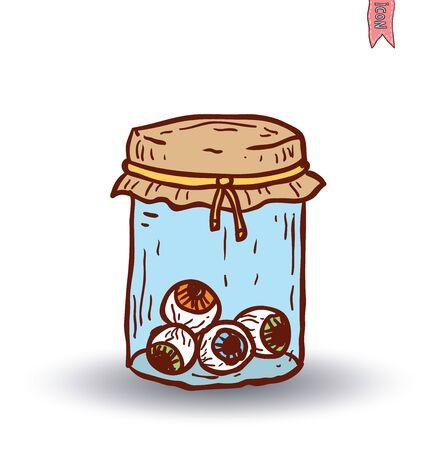 pickled: eye glass jar. vector illustration Illustration