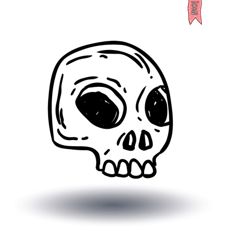 etiquete: skull cartoon icon. vector illustration. Illustration