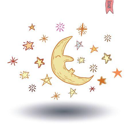 nightly: Moon and stars at night. vector illustration.
