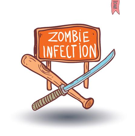 rising dead: zombie icon, vector illustration.