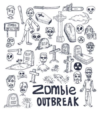 zombie cartoon doodle, vector illustration.