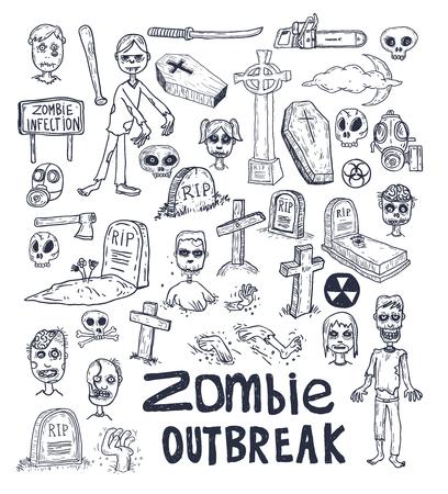Zombie cartone animato Doodle, illustrazione vettoriale. Archivio Fotografico - 44504230