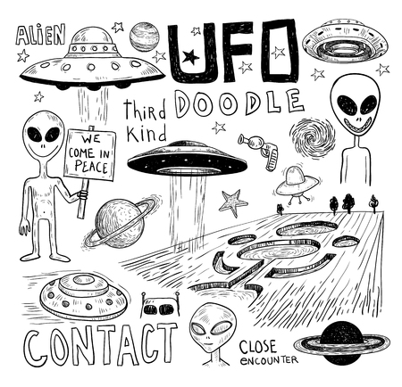 autopsy: Set of alien and ufo icon, hand drawn vector illustration. Illustration
