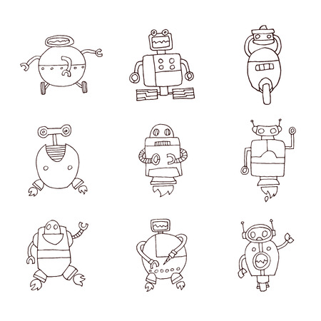 illustration collection: Doodle Robot cartoon, vector illustration.