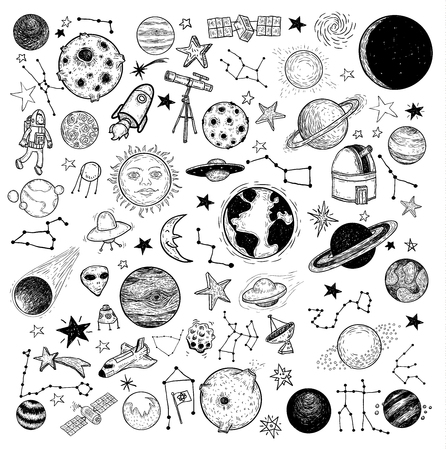 doodle art: Set of planets icon, hand drawn vector illustration.