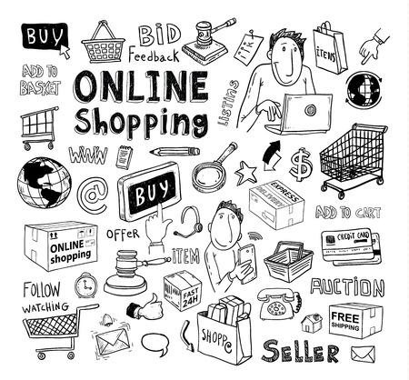 online world: Online shopping e-commerce icons. vector illustration