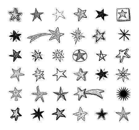 Star Doodles, illustrazione vettoriale disegnata a mano. Archivio Fotografico - 44689614