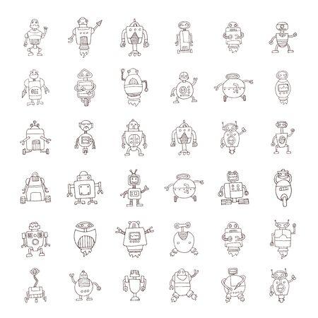 Doodle Robot cartoon, vector illustration.