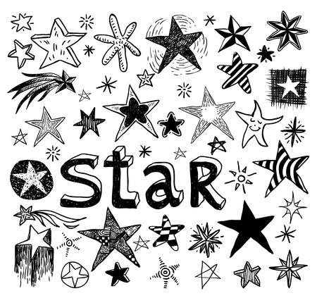 Star Doodles, hand drawn vector illustration. Ilustração