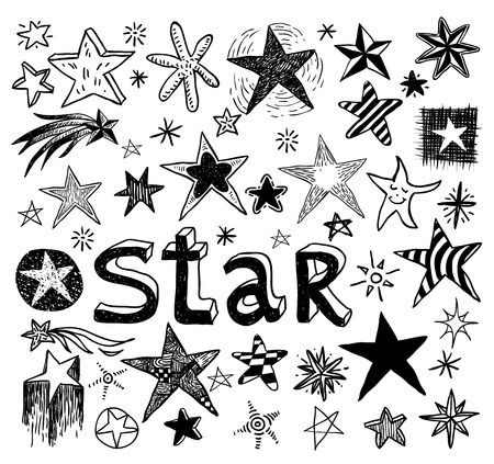Star Doodles, hand drawn vector illustration. Vettoriali