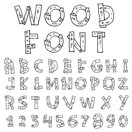 characterset: wood Hand drawn alphabet