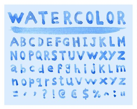 characterset: Font Watercolor. Handwritten illustration.