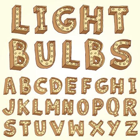 old movie: Vector alphabet with bulbs. Illustration