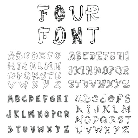 Set of four sketch font.Hand drawn. Vector