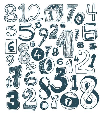 numbers, hand drawn illustration.