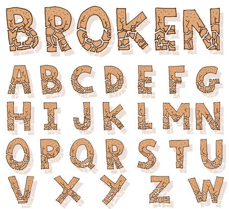 Hand drawn alphabet. vector Illustration
