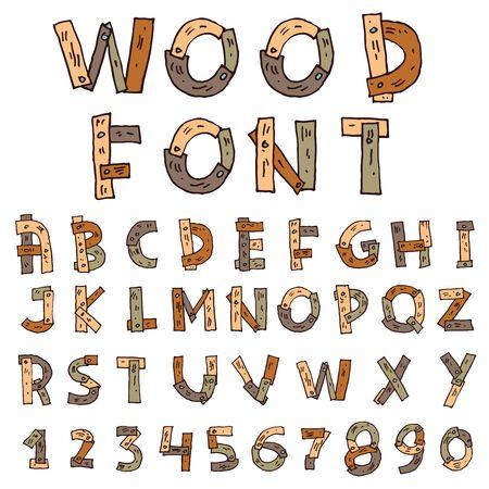nailed: Vector font wood.