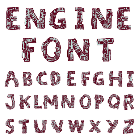 mechanical font style, Vector.