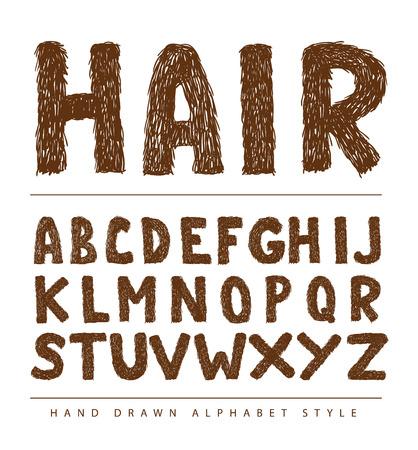 hairy font alphabet, Vector illustration.