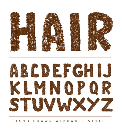 characterset: hairy font alphabet, Vector illustration.
