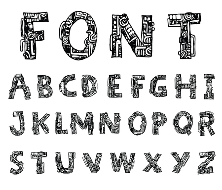 characterset: mechanical font style, Vector.