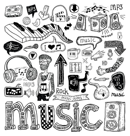 notes paper: Music doodle collection, hand drawn illustration.