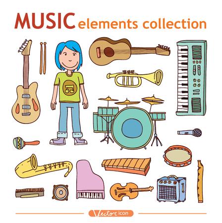 Musica collezione scarabocchiare, illustrazione disegnata a mano. Archivio Fotografico - 44689738
