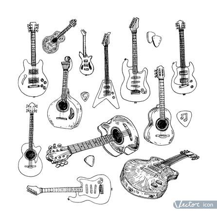 pickups: Electric guitar Hand drawn doodle, vector illustration. Illustration