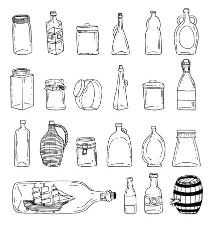 Bottle set doodle, vector illustration Vettoriali