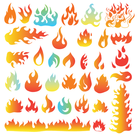Fire flames, set icons, vector illustration 向量圖像
