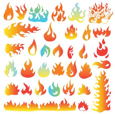 llamas de fuego: Llamas del fuego, establecer iconos, ilustración vectorial Vectores