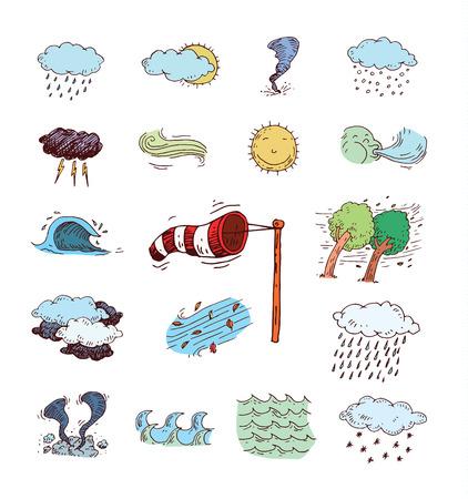 Pictogrammen van het weer. vector illustratie. Stock Illustratie