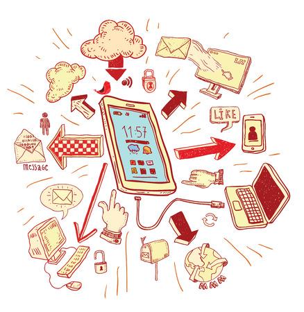 phone doodle set. Hand-drawn vector illustration.