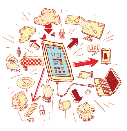 phone doodle set. Hand-drawn vector illustration.