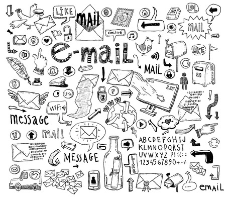E-mail doodle set. Hand-drawn vector illustration. Иллюстрация