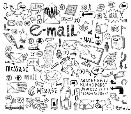 E-mail doodle set. Hand-drawn vector illustration. Stock Illustratie
