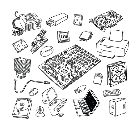 hardware: Computer Hardware Icons. PC Components.
