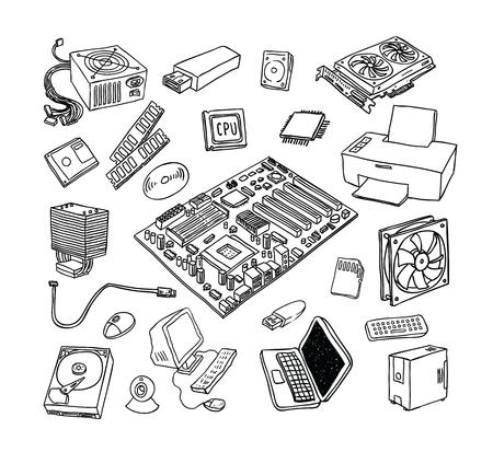 gpu: Computer Hardware Icons. PC Components.