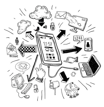 home network: phone doodle set. Hand-drawn vector illustration.