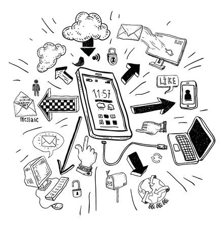 telefoon doodle set. Met de hand getekende vector illustratie. Stock Illustratie
