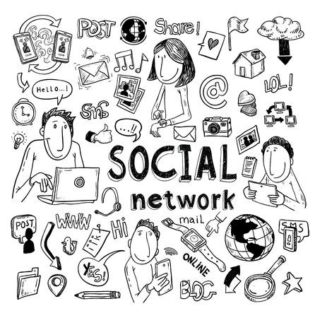 Social media set Doodle. illustrazione vettoriale disegnata a mano. Archivio Fotografico - 44505255